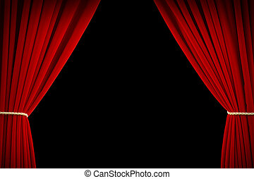 Movie Curtains - Open Red Velvet Movie Curtains with Black...