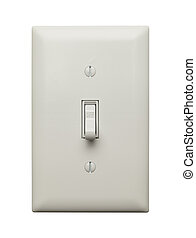 Off Switch - Light Switch in the Off Postion Isolated on...