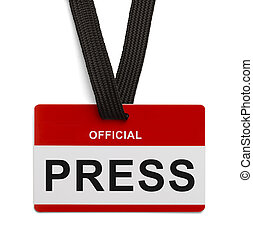 Official Press Pass - Red and White Press Badge Isolated On...