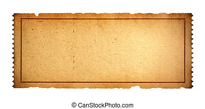 Old Blank Ticket - Antique Movie Ticket With Copy Space...