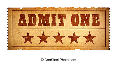 Old Movie Ticket - Admit One Paper Ticket Isolate on White...