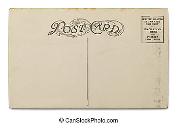 Old Postcard - Old Blank Postcard Isolated on a White...