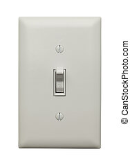On Switch - Light Switch in the On Postion Isoleted on White...