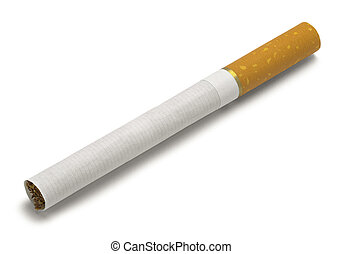Cigarette - Single New Cigarette Isolated on White...