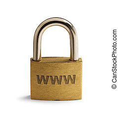 Online Security - Brass Padlock with WWW on surface Isolated...