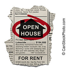 Open House - Real Estate Open House Ad circled with Red...