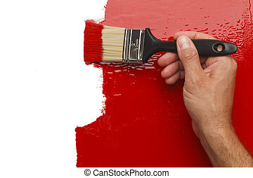 Painted Wall - Hand Painting Wall Red With White Copy Space...