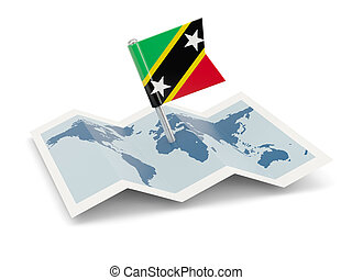 Map with flag of saint kitts and nevis isolated on white