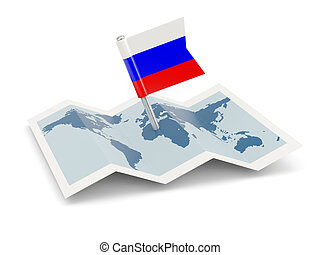 Map with flag of russia