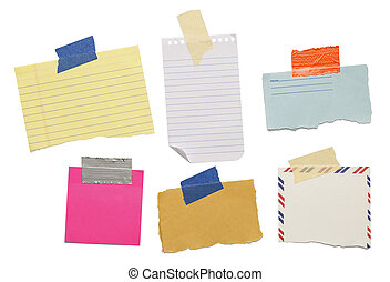Blank Isolated Notes - six different scraps of paper notes...