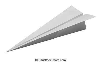 Paper Airplane - Dart Paper Airplane Isolated on White...
