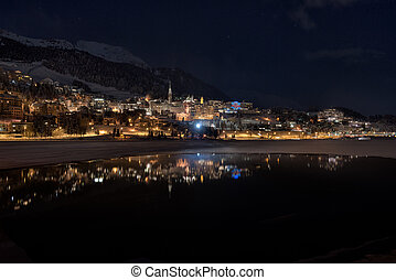 Stmoritz mirrored in the lake