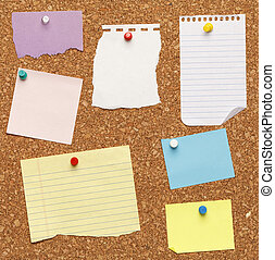 Notes on Cork Board - Different papers tacked on cork board.
