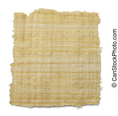 Papyrus - Torn Yellow Brown Papyrus Paper Isolated on White...