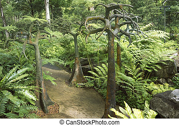 Botanical garden - tropical landscape with artificial trees...