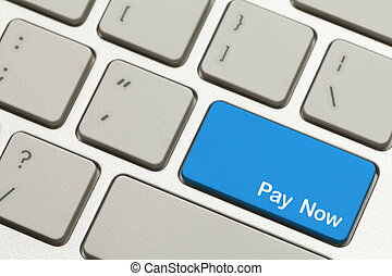 Pay Now Key - Close Up of Blue Pay Now Key Button on...