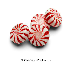 Peppermint Candy - Four Pieces of Peppermint Candy With...