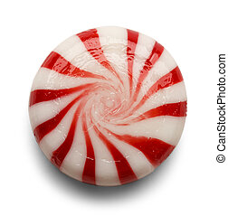 Peppermint - One Piece of Peppermint Candy Isolated on White...