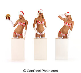 Young sexy Santa gets out of a box (3 variants) - Young sexy...
