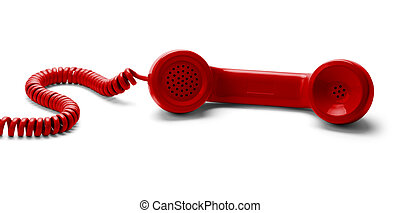 Phone - Red Phone Off the Hook Isoalted on White Background.