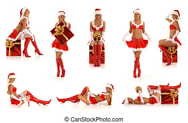 Set of sexy Santas isolated on white