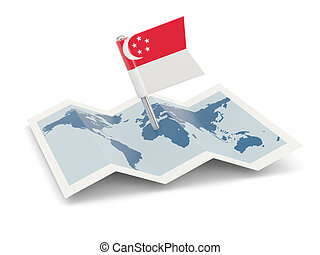 Map with flag of singapore