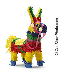 Pinata - Mexican Donkey Pinata Isolated on White Background.