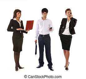 Casual business people with mobile phones and notebook