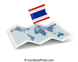 Map with flag of thailand