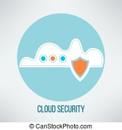Cloud computing security icon. Data protection concept symbol. Vector illustration