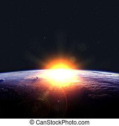Earth with rising sun.