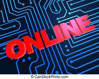 """online - 3d rendered illustration of \""""online\"""" letters on a..."""