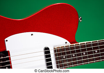 Electric Guitar Isolated On Green
