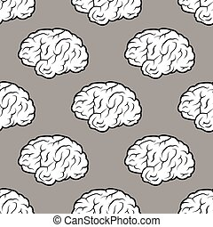 Seamless Brains on the grey background - Seamless pattern...