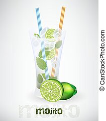 Mojito vector illustration - Glass of mojito and drinking...