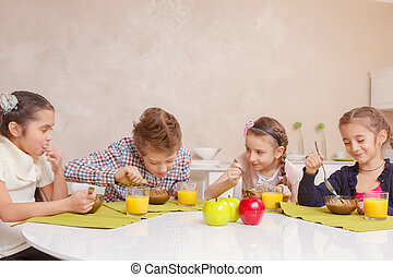 Kids have lunch at home - Good appetite Four cute school...