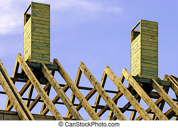 Wooden rafters on new house - Wooden rafters on top of new...