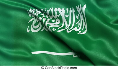 Saudi Arabia flag seamless loop - Realistic flag of Saudi...