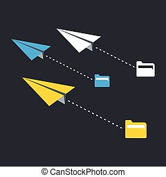 Paper plane - Three paper planes A vector illustration