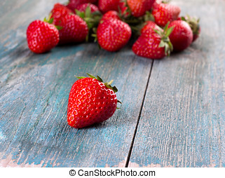 Fresh strawberries on the old board - Fresh, ripe...