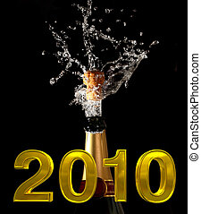 champagne bottle with shotting cork background 2010