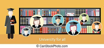 Illustration pictures studying at university - Image of...