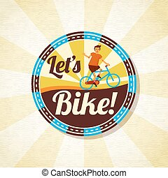 Summer bike riding retro background. Vector.