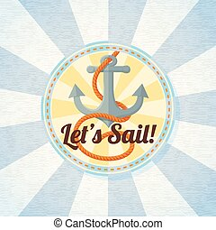 Nautical summer badge with anchor and rope.