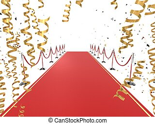 red carpet - 3d rendered illustration of golden ribbons...