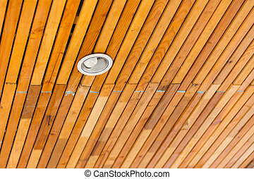 Wooden roof with downlight for  interior , soft - focus