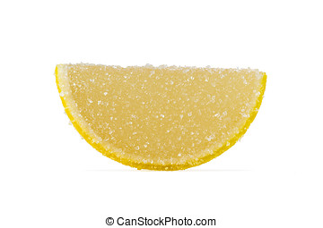 Slice Of Yellow Marmalade On A White Background - Slice of...