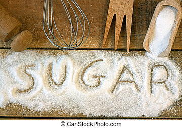 a sugar word with background - still life