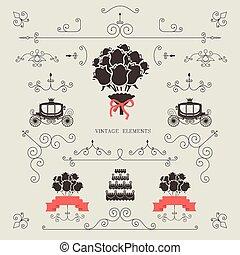 Set of vintage elements, design, wedding invitation, frame,...