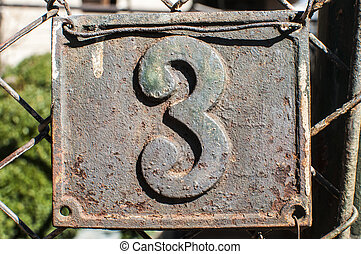 Old retro cast iron plate number 3 - Old retro weathered...